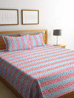 NEUDIS Pink & Blue Striped Jacquard Cotton Double Bed Cover With 2 Pillow Cover