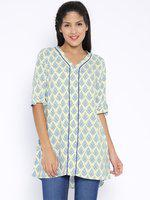 109F Cream-Coloured & Blue Printed Tunic