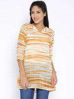 109 F Cream-Coloured & Orange Printed Tunic