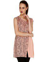 109F Peach-Coloured & Brown Printed Layered Tunic