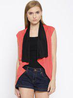 109F Coral Red Polyester Shrug