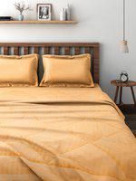 SWAYAM Amber Yellow Self-Striped Bedding Set with Reversible Quilt (Comforter)