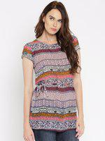 109F Multicoloured Printed Polyester A-Line Tunic