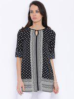 109F Black Printed Polyester Tunic
