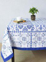 House This Blue & White Square Printed 60 x 60 Cotton Table Cover