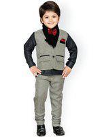 AJ Dezines Boys Festive & Party Shirt, Waistcoat and Pant Set(Brown Pack of 1)