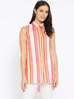 109F Peach-Coloured Striped Sleeveless Tunic