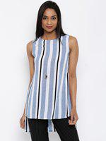 109F Blue & White Striped High-Low Tunic