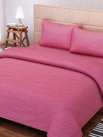 SEJ by Nisha Gupta Pink 210 TC Fine Cotton Double Bedsheet with 2 Pillow Covers