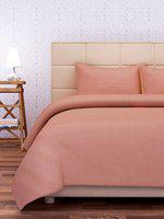 SEJ by Nisha Gupta Peach-Coloured 210 TC Fine Cotton Double Bedsheet with 2 Pillow Covers