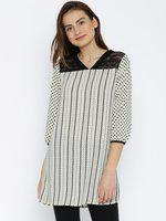 109F Off-White & Black Printed Tunic