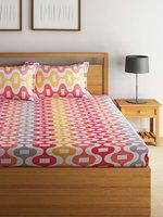 Swayam Eco Multicoloured Cotton 144 TC Double Bedsheet with 2 Pillow Cover
