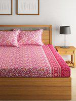 Swayam Eco Pink Cotton 144 TC Double Bedsheet with 2 Pillow Cover
