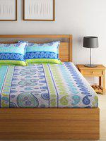 Swayam Eco Blue & White Cotton 144 TC Double Bedsheet with 2 Pillow Cover