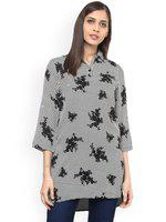 109F White & Black Printed Tunic