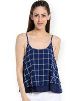 109F Women Navy Blue & White Checked Layered Top