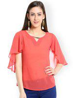 109F Women Coral Pink Solid Cape Top