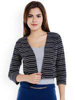 109F Navy & White Striped Crop Shrug
