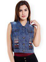 109F Women Blue Solid Crop Denim Jacket