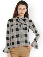 109F Women Black Checked Shirt-Style Top
