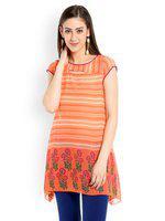 109F Women Orange & Multicoloured Printed Tunic