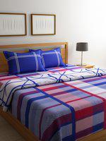 STELLAR HOME Blue & Red Printed 2 Bedsheets & 1 Comforter Bedding Set