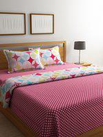 STELLAR HOME Multicoloured Printed 2 Bedsheets & 1 Comforter Bedding Set