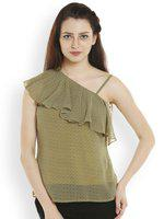 109F Women Olive Green Printed Top