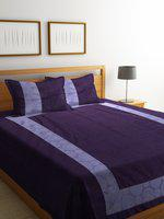 Portico New York Purple Cotton Double Bed Cover with 2 Pillow Covers