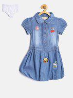 Nauti Nati Girls Blue Denim Blouson Dress
