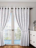 Portico New York White Printed Single Long Door Curtain