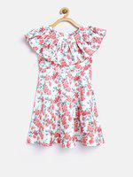 Nauti Nati Girls Pink & White Floral Print Fit & Flare Dress