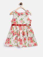 Nauti Nati Girls Off-White & Pink Floral Print Fit and Flare Dress