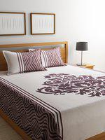 ROMEE Off-White & Burgundy Printed 220 TC Reversible Double Bed Cover with 2 Pillow Covers