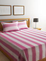 ROMEE Cream & Pink Printed 220 TC Double Bed Cover with 2 Pillow Covers