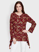 Global Desi Women Maroon Printed Top