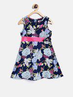 Nauti Nati Girls Blue Floral Print Fit and Flare Dress