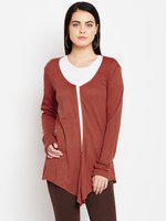 Rust Cotton Knitted Self Design Full Sleeve Shrug