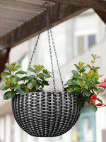 Story@home Silver & Black Hanging Pot Planter