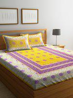 Rajasthan Decor Yellow & Purple Floral Flat 144 TC Cotton 1 King Bedsheet with 2 Pillow Covers