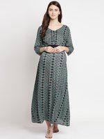 Mine4Nine Green Printed Maternity Maxi Dress