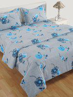 Swayam Grey & Blue Cotton 180TC Printed Bedding Set
