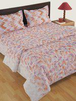 Swayam Multicoloured Cotton 180TC Printed Bedding Set