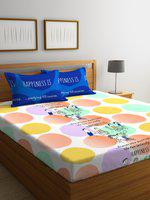 Portico New York Multicoloured Graphic 144 TC Cotton 1 Queen Bedsheet with 2 Pillow Covers