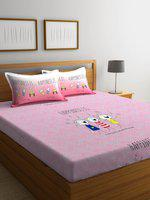 Portico New York Pink Graphic 144 TC Cotton 1 Queen Bedsheet with 2 Pillow Covers