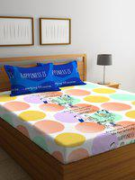 Portico New York Multicoloured Graphic 144 TC Cotton 1 Double Fitted Bedsheet with 2 Pillow Covers