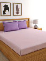 Home Ecstasy Pink Solid 220 TC Cotton 1 Queen Bedsheet with 2 Pillow Covers