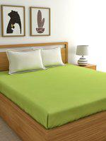 Home Ecstasy Lime Green Solid 220 TC Cotton 1 Queen Bedsheet with 2 Pillow Covers