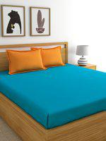Home Ecstasy Turquoise Blue Solid 220 TC Cotton 1 Queen Bedsheet with 2 Pillow Covers