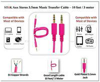 SToK Aux Stereo 3.5mm Music Transfer Stereo Gold Plated Cable 3.04 m (10 (ft) - 3.5 mm Male to Male Aux Cable - Audio Cable - Pink